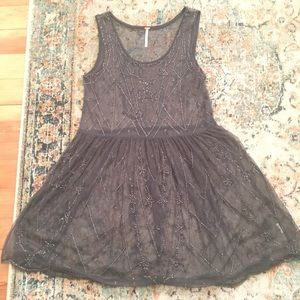 Free people beaded grey slip dress S